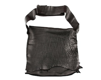A bag is to carry your affections  - Black Leather Messenger  - unisex