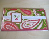 Hand-made\/Stamped Checkbook Cover (Holiday Paisley Design) FREE SHIPPING