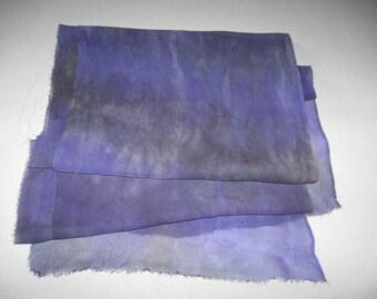 "90"" Silk Chiffon hand-dyed Purple and Gray scarf for Nuno Felting"