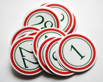 Red & Green Holiday Number Tags 1-31