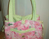 John Deere Spring fabric flowers pinks and greens quilted tote bag purse