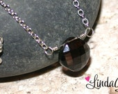 Smoky Quartz Necklace - Checkerboard Smoky Quartz Necklace by LindaGeez