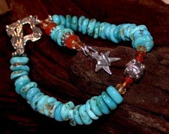 Natural Turquoise Bracelet - Southwest Nacozari Turquoise Bracelet - 5th Chakra by LindaGeez