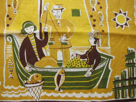 Vintage Tea Kitchen Dish Towel, Folk Fisherman, Fisherwoman, MCM