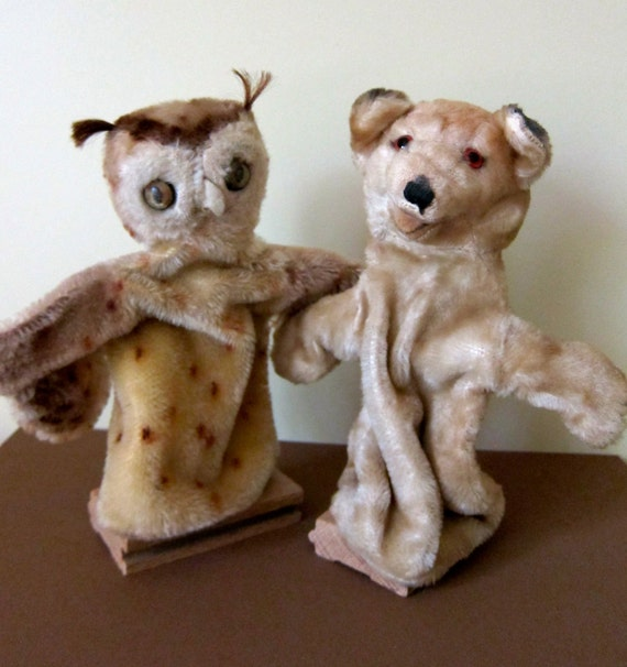 Vintage Steiff Wittie Owl and Fox Hand Puppets 1950s
