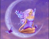 Lavender Moon Fairy Art Print Fantasy Art