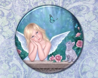 Little Miracles Angel Child & Kitten Pocket Mirror