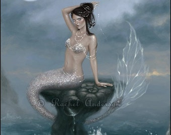 Mermaid Art Print Moon Tide Fantasy Art