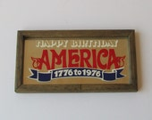 Vintage 70s HAPPY BIRTHDAY AMERICA Mirrored Sign