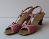 SALE 1970s shoes / vintage 70s sandals / strappy / 7.5 / Sweet Pink Summer T-Strap Sandals