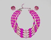 1960s vintage necklace set / 60s vintage earrings set / hot pink / Marie Antoinette Four Strand Necklace and Matching Earrings Set