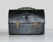 Vintage 60s Union Black Dome Metal Lunchbox by Thermos