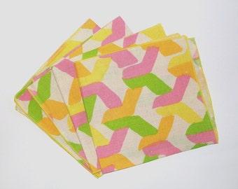 1960s linen napkins / 60s napkins / colorful / Neon Splash Linen Dinner Napkins