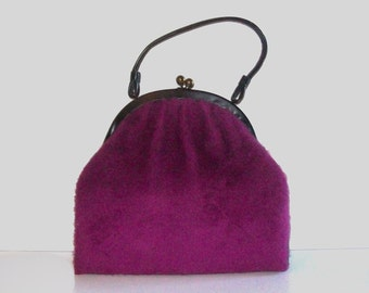1960s purse / vintage 60s handbag / large / Fuzzed Up Purple Purse