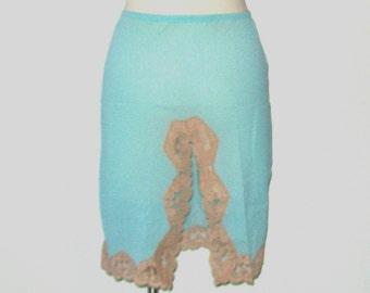 1960s Emilio Pucci half slip / vintage 60s half slip / nylon / small s / Pucci Robin's Egg Blue Half Slip