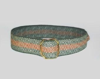 1970s belt / vintage 70s belt / canvas / OSFA / Avocado and Burnt Orange Belt