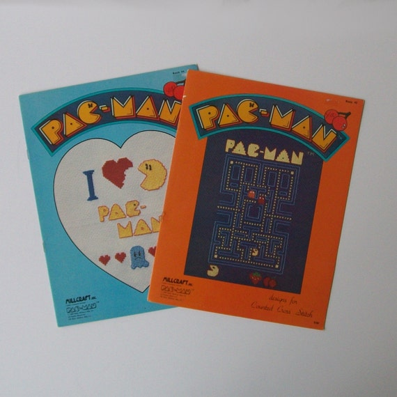 Vintage 80s PAC-MAN Cross Stitch Folder Set