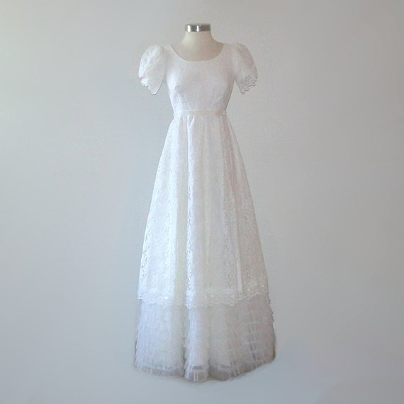 Vintage 60s daisy wedding dress and veil size small or medium for Vintage wedding dress 60s