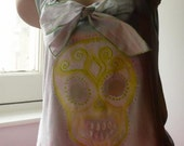 PALE PINK AND GREEN BABY DOLL CALAVERA TOP S