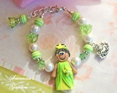 Frog Princess Polymer Clay Bracelet