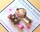 Creamy Chocolate Stawberry Cake and Satin Flower Sparkle Set Alligator Clips