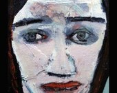 outsider EMERY original painting  SALE 'recurring thoughts leave her bruised'