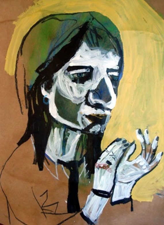 outsider EMERY original painting 'rozz williams 1977'