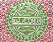Set of 6 - Peace Snowflake Letterpress Card in Magenta and Green