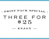 Print Pack 3 Letterpress Prints for 25 Dollars