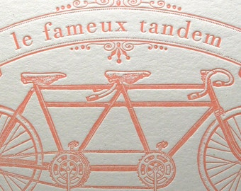 Tandem Love Wedding Anniversary Engagement Bicycle Letterpress Card Famous Bicycle Built for Two in Light Pink