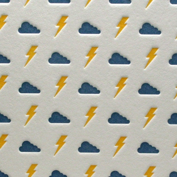 Bolts and Clouds in Orange/Blue
