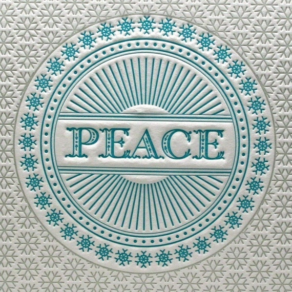 Set of 6 - Peace Snowflake Holiday Letterpress Cards in Blue and Silver