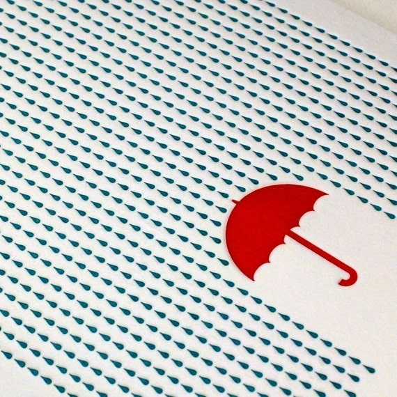Rainy Day Letterpress Card in Blue and Red