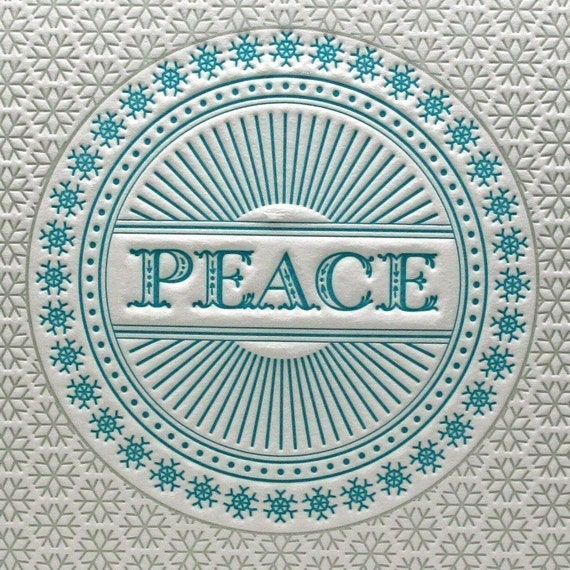 Christmas Card Letterpress Set Peace Snowflake Blue & Silver