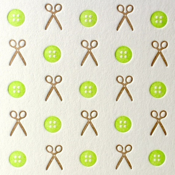 Sew Crafty Letterpress Card in Lime and Chocolate