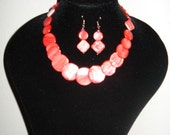 Coral Shell Disc Necklace and Earrings