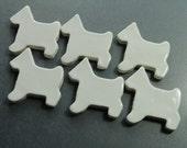 White Scottie Dogs Mosaic tiles -set of 6