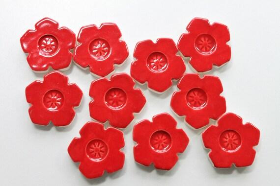 Red Flower Ceramic Mosaic Tiles - set of 10