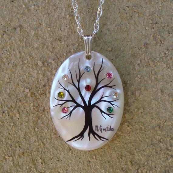 """Family Tree Necklace """"Medium Oval"""" (8 stone maximum)"""