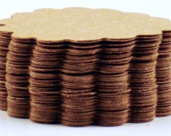 50 Paper DIe Cut  Scalloped Circles in Krafty Kraft