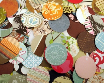 "Paper Die Cut Circles    1 1/2"" circles   Funky Mix Variety Pack 200 Pieces"