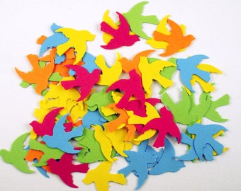 Paper Confetti  Doves  Die Cut Birds in  South Beach Mix