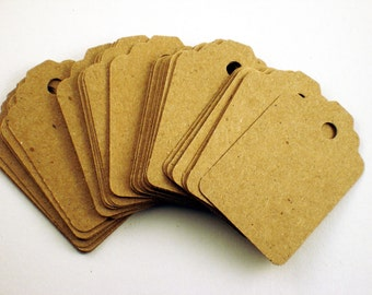 Funky Tags  Paper Gift Tags Price tags in Krafty Kraft Set of 50