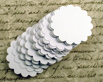 Two Inch Paper Die Cut  Scalloped Circles   Snowy  White Set of 50