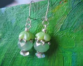 Shades of Green Crystal Earrings