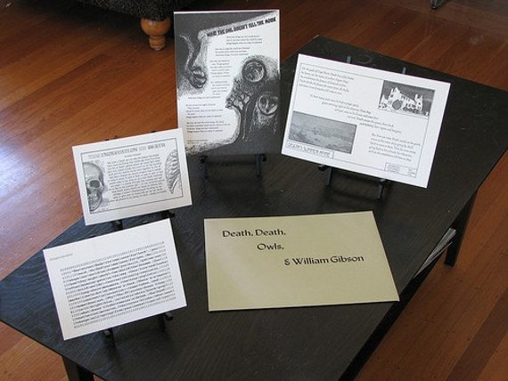 Death, Death, Owls and William Gibson letterpress portfolio