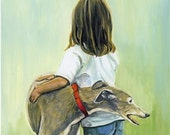 Girl with Greyhound Art Print of Original Gouache Painting