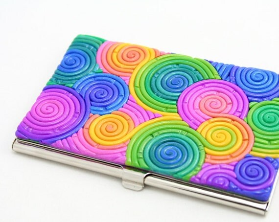 SALE 25% OFF Business Card Case in Rainbow Pastel Polymer Clay
