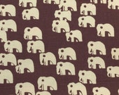 Brown and Tan Cream Elephant Canvas Fabric