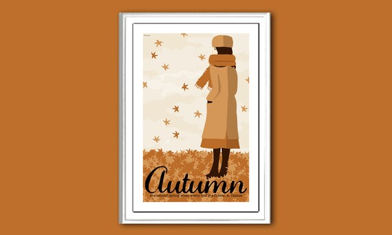 Autumn, or Fall, retro 12x18 inches poster print